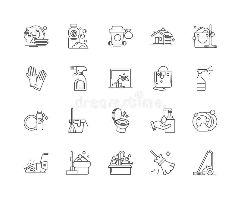 Линия значки дома очищая, знаки, набор вектора, концепция иллюстрации плана иллюстрация вектора