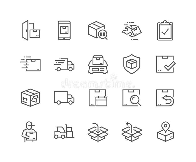 Линия значки доставки бесплатная иллюстрация