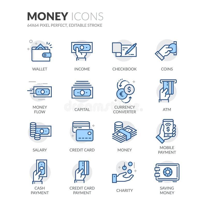 Линия значки денег иллюстрация вектора