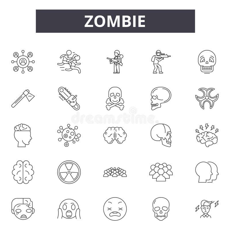 Линия значки зомби для сети и мобильного дизайна Editable знаки хода Иллюстрации концепции плана зомби бесплатная иллюстрация