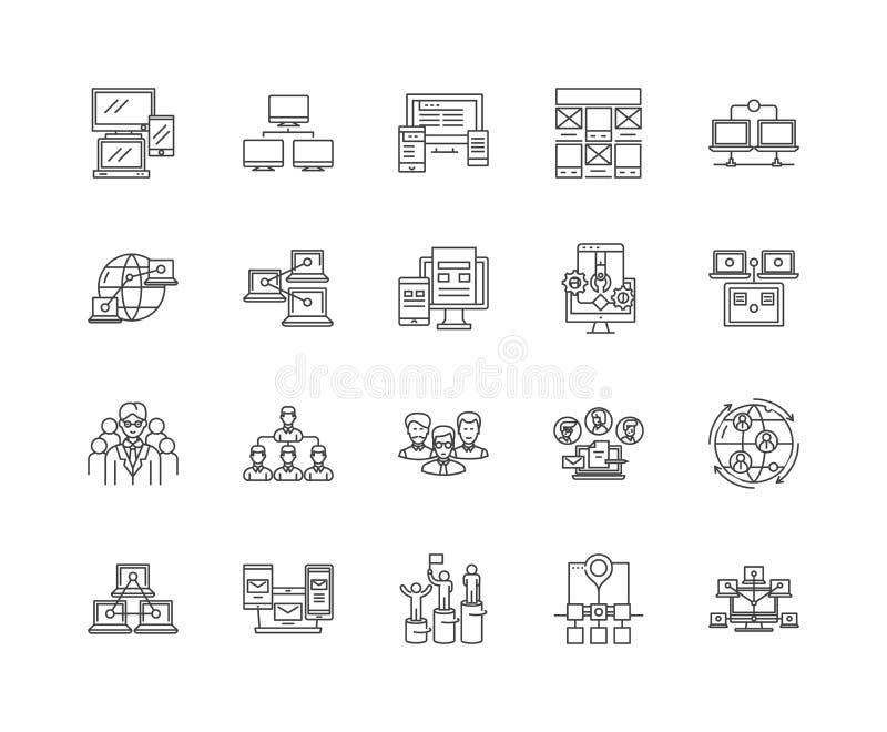Линия значки иерархии, знаки, набор вектора, концепция иллюстрации плана иллюстрация вектора