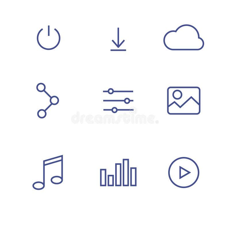 Линия значки интерфейса искусства стоковые фотографии rf