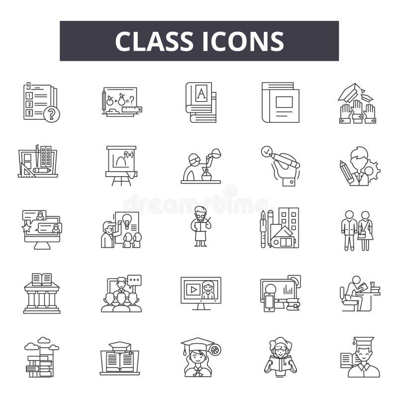 Линия значки класса для сети и мобильного дизайна Editable знаки хода Иллюстрации концепции плана класса иллюстрация штока