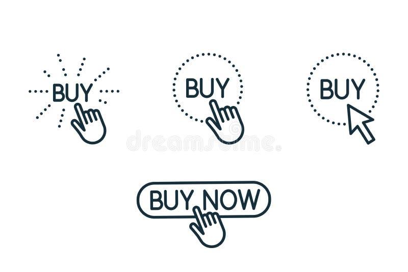 Линия значки кнопки покупки касания и прессы установила на белую предпосылку стоковая фотография rf