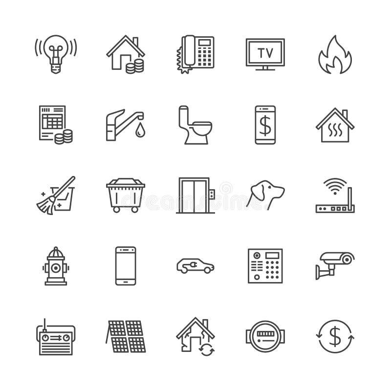 Линия значки коммунальных услуг плоская Арендуйте получение, воду электричества, газ, топление дома, CCTV, тщательный осмотр, век бесплатная иллюстрация