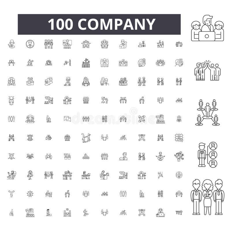 Линия значки компании editable, набор 100 векторов, собрание Иллюстрации плана черноты компании, знаки, символы иллюстрация вектора