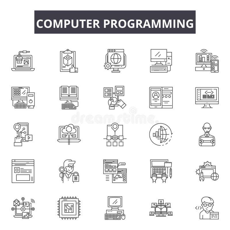 Линия значки компьютерного программирования, знаки, набор вектора, ко иллюстрация штока