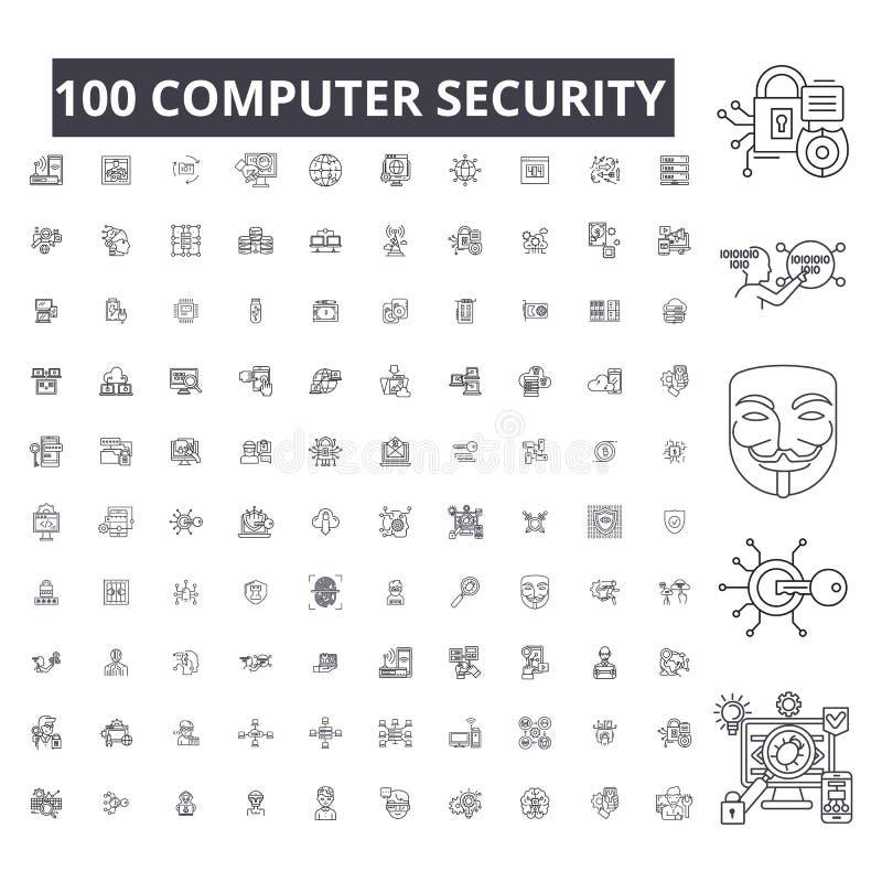 Линия значки компьютерной безопасности editable, набор 100 векторов, собрание Иллюстрации плана компьютерной безопасности черные, иллюстрация вектора