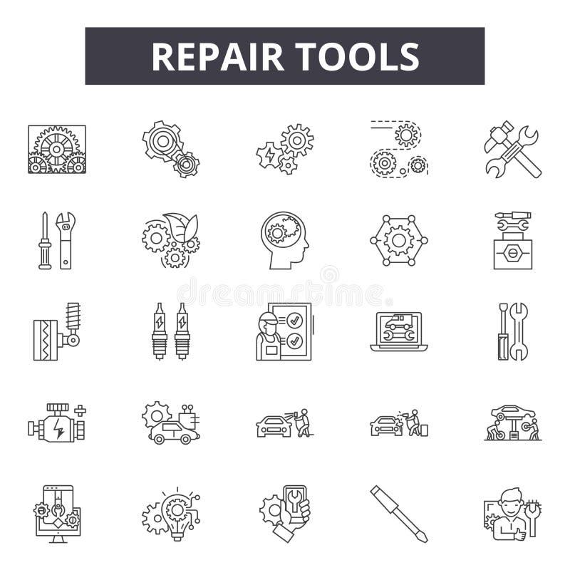 Линия значки консультанта ремонта, знаки, набор вектора, концепция иллюстрации плана бесплатная иллюстрация