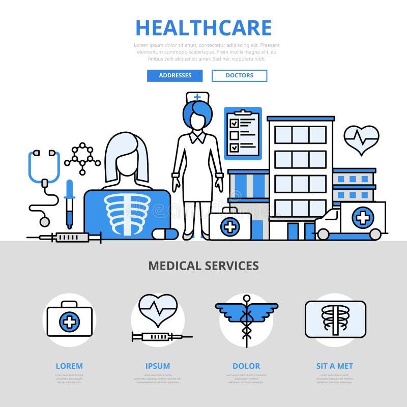 Линия значки концепции медицинского обслуживания здравоохранения плоская вектора искусства иллюстрация вектора