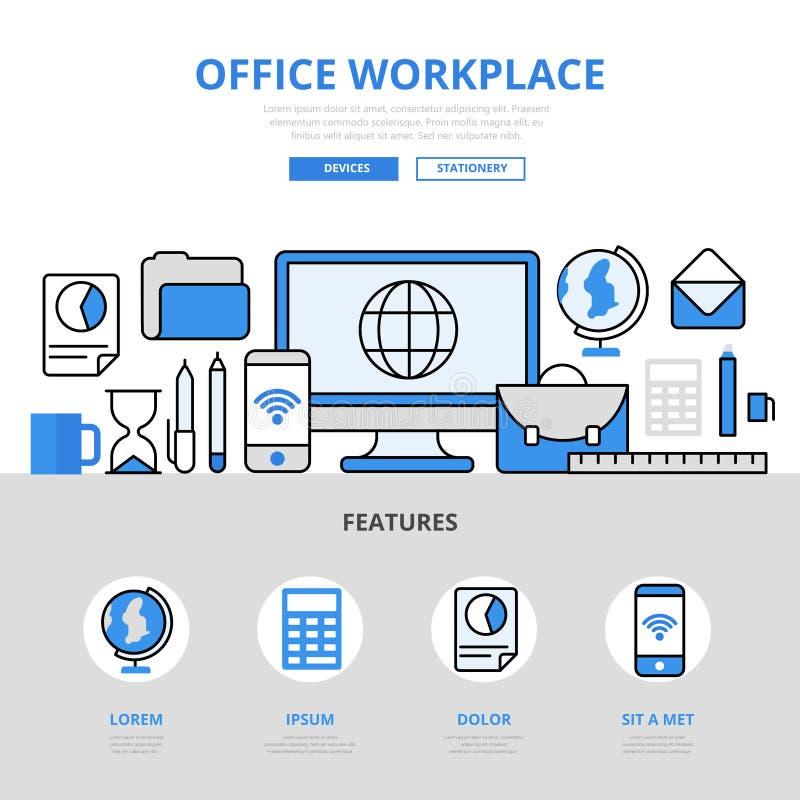Линия значки концепции образования рабочего места офиса плоская вектора искусства