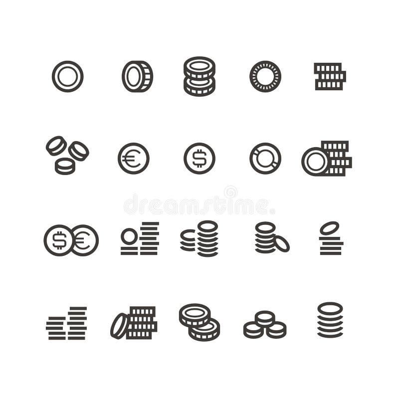 Линия значки монеток Изолированные деньги, налог, зарабатывают и получают символы наличными вектора плана бесплатная иллюстрация