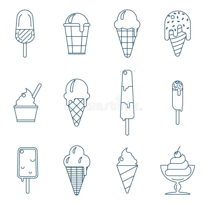 Линия значки мороженого искусства бесплатная иллюстрация
