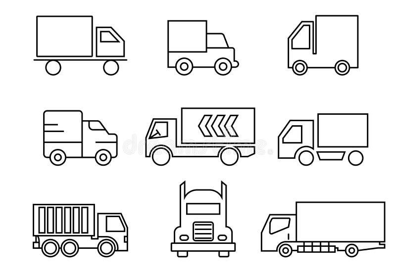 Линия значки набор, транспорт, тележка, иллюстрации вектора бесплатная иллюстрация