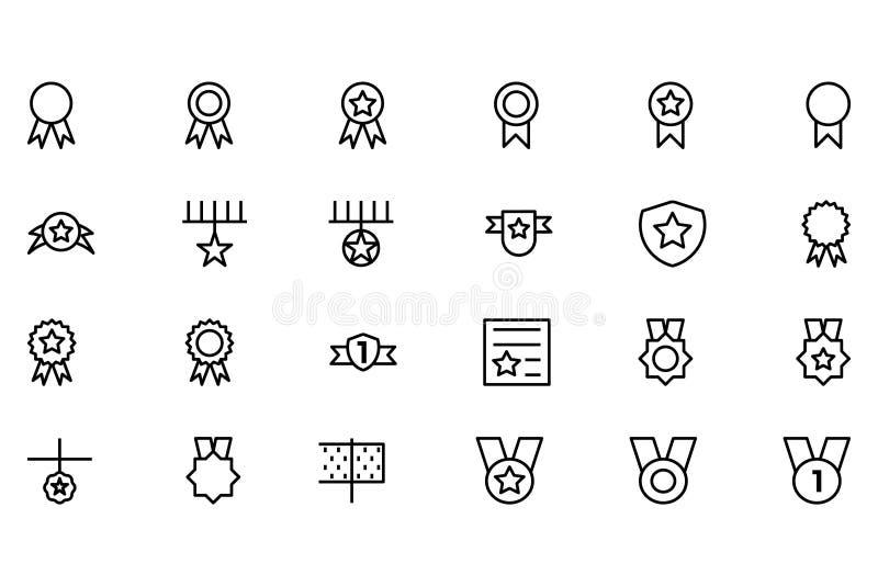 Линия значки 1 награды и вектора медали иллюстрация штока