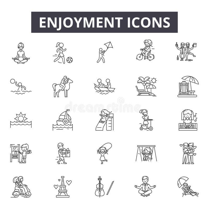 Линия значки наслаждения для сети и мобильного дизайна Editable знаки хода Иллюстрации концепции плана наслаждения бесплатная иллюстрация
