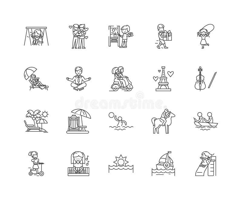 Линия значки наслаждения, знаки, набор вектора, концепция иллюстрации плана бесплатная иллюстрация