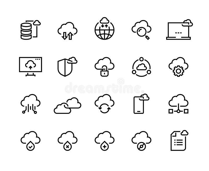 Линия значки облака вычисляя Системные данные информационной инфраструктуры технологии хранения данных Набор платформы доступа об иллюстрация штока