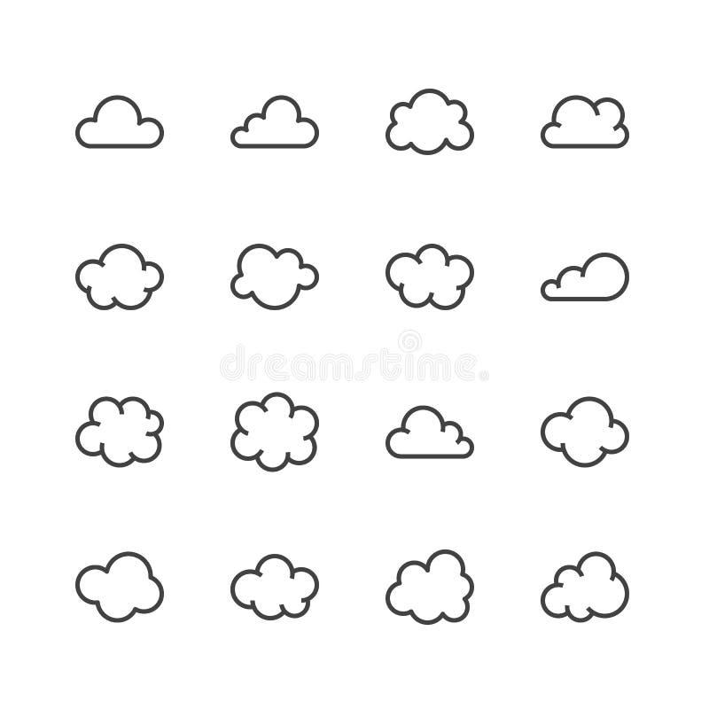 Линия значки облака плоская Заволакивает символы для хранения данных, знаки прогноза погоды тонкие для хостинга Пиксел совершенно иллюстрация вектора