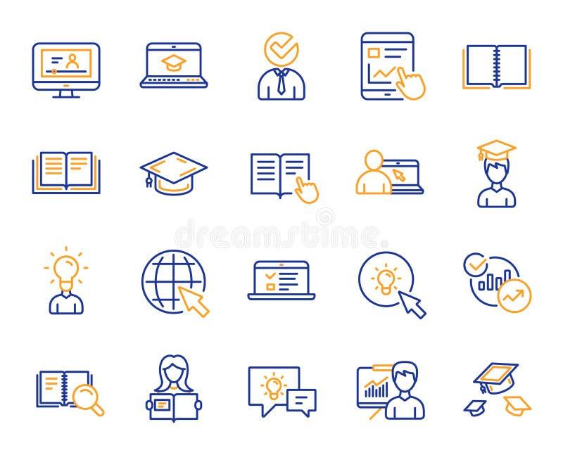 Линия значки образования Книга, видео- консультация вектор бесплатная иллюстрация