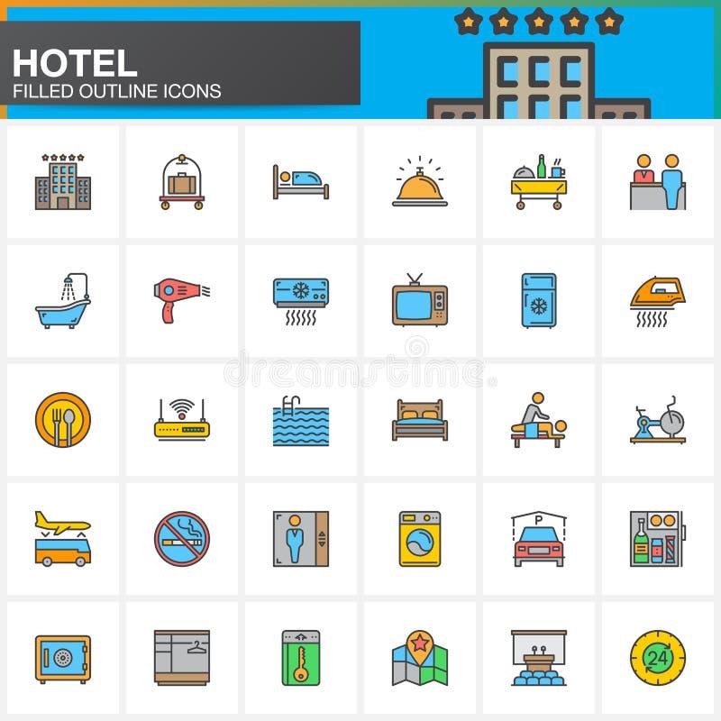 Линия значки обслуживаний и объектов гостиницы установила, заполненное собрание символа вектора плана, линейный красочный пакет п иллюстрация вектора