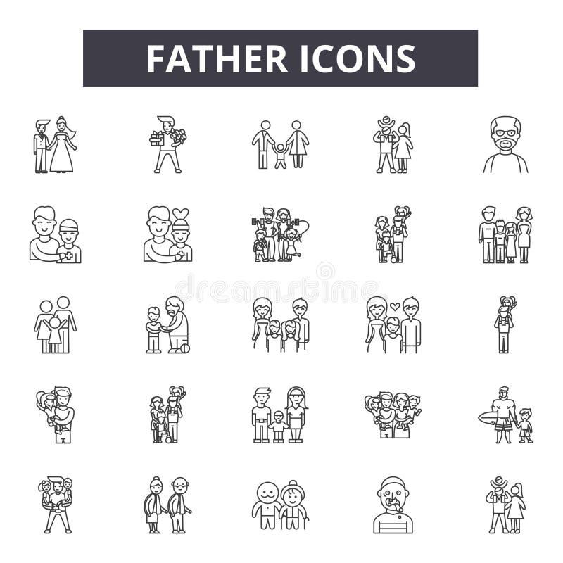 Линия значки отца, знаки, набор вектора, концепция иллюстрации плана иллюстрация штока