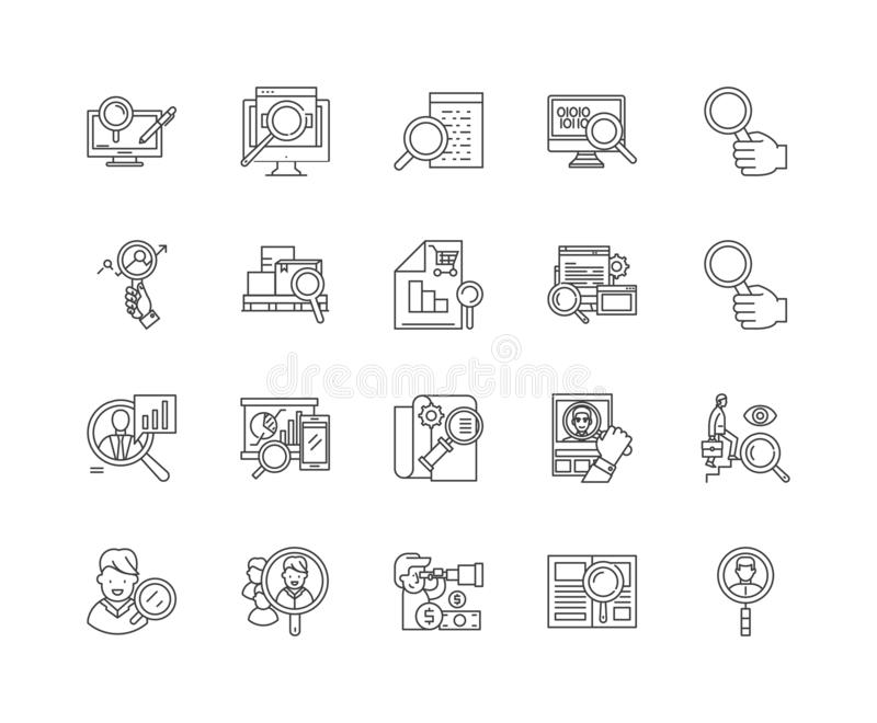 Линия значки оценки, знаки, набор вектора, концепция иллюстрации плана бесплатная иллюстрация
