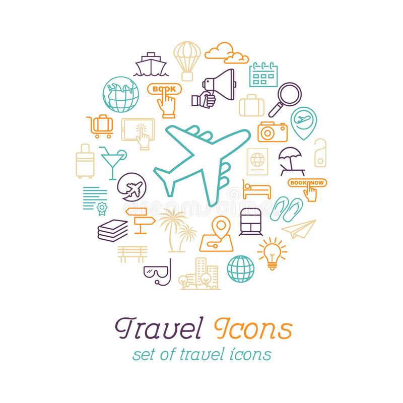 Линия значки перемещения и туризма установила плоский дизайн, шаблон дизайна логотипа бесплатная иллюстрация