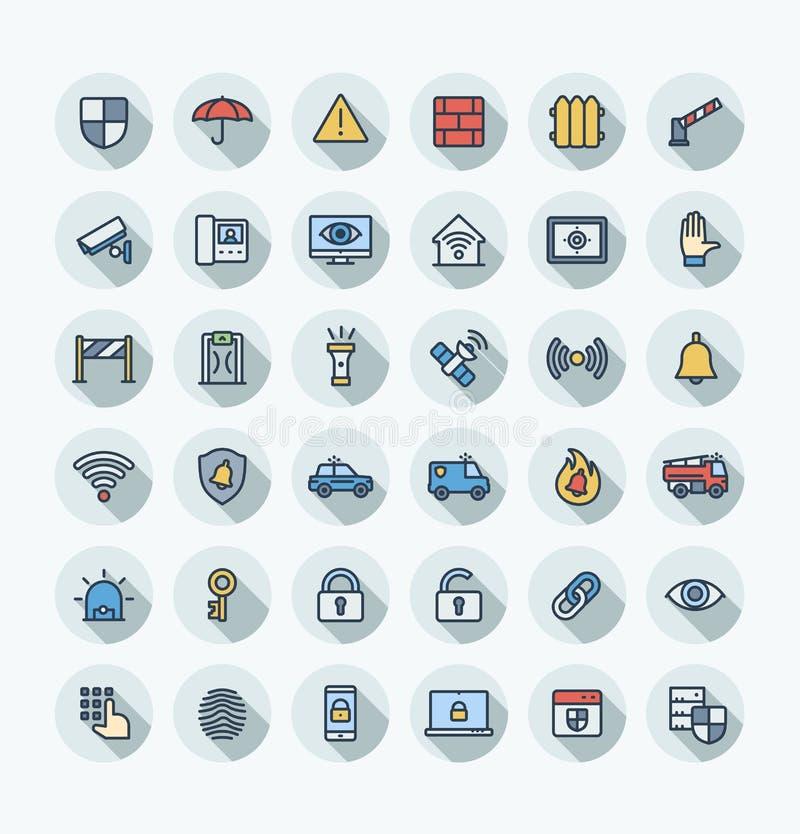 Линия значки плоского цвета вектора тонкая установила с безопасностью, символами плана безопасности кибер бесплатная иллюстрация