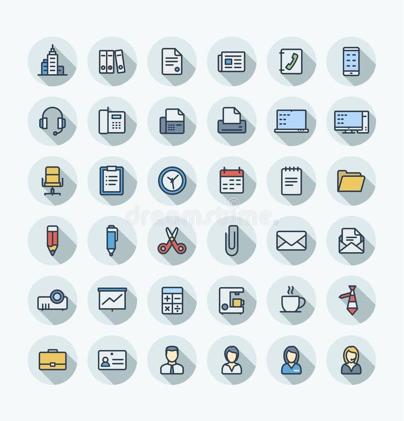 Линия значки плоского цвета вектора тонкая установила с делом и инструменты офиса конспектируют символы бесплатная иллюстрация
