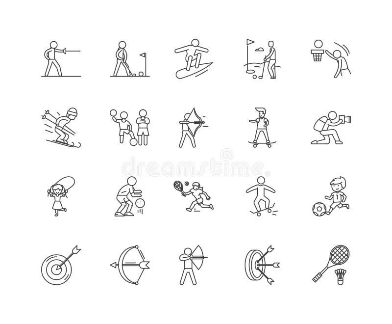 Линия значки подвижности, знаки, набор вектора, концепция иллюстрации плана иллюстрация штока