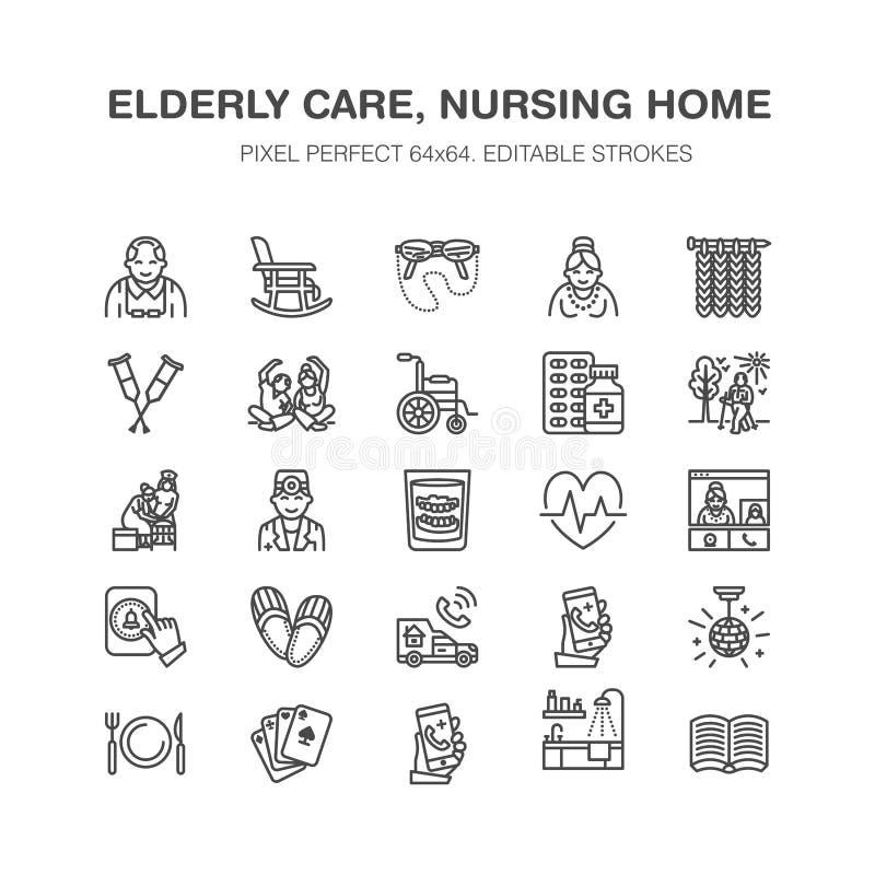 Линия значки пожилого вектора заботы плоская Элементы дома престарелых - старые люди деятельности, кресло-коляскы, медицинского о бесплатная иллюстрация