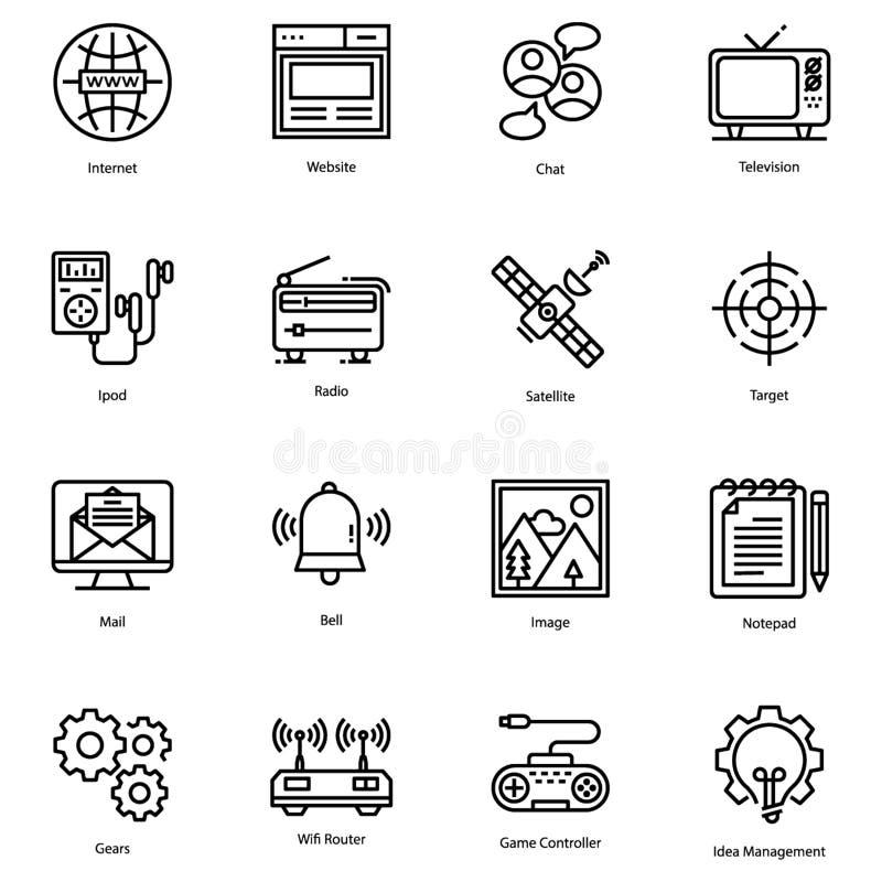 Линия значки пользовательского интерфейса пакует бесплатная иллюстрация