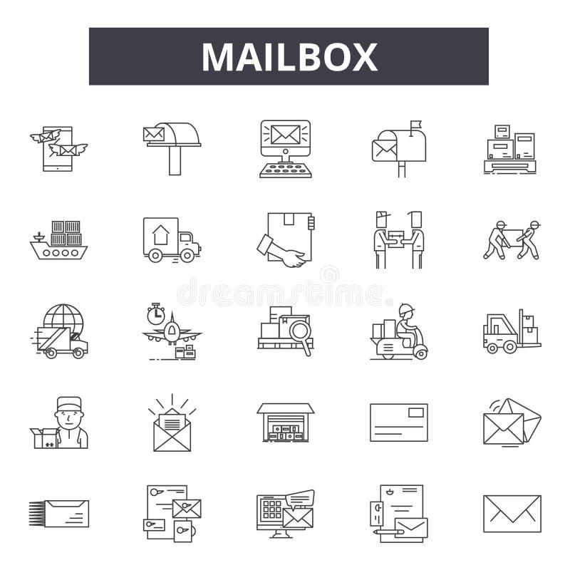 Линия значки почтового ящика, знаки, набор вектора, концепция иллюстрации плана иллюстрация штока