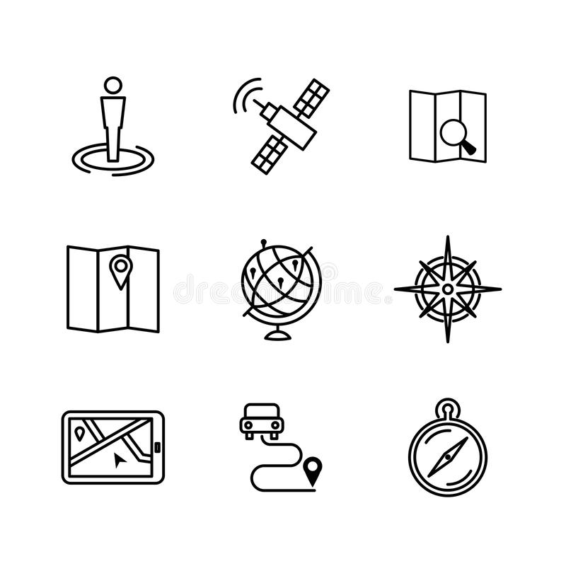 Линия значки положения и навигации иллюстрация вектора