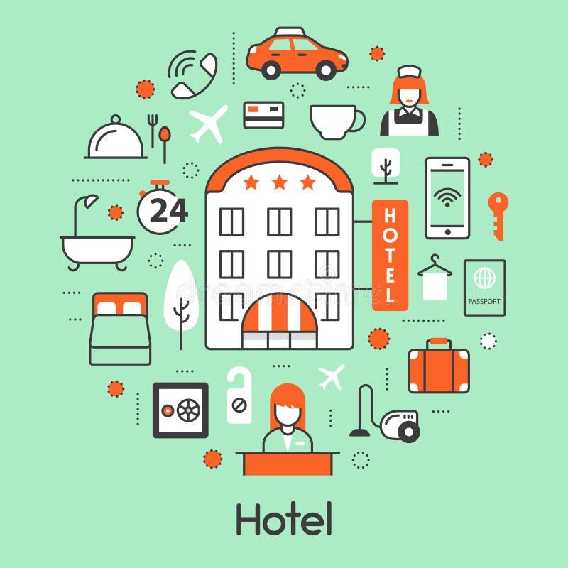 Линия значки проживания в гостинице тонкая установленные с приемом и обслуживаниями иллюстрация штока