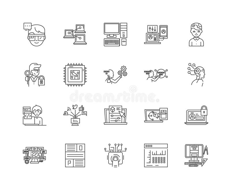 Линия значки развития начала, знаки, набор вектора, концепция иллюстрации плана иллюстрация штока