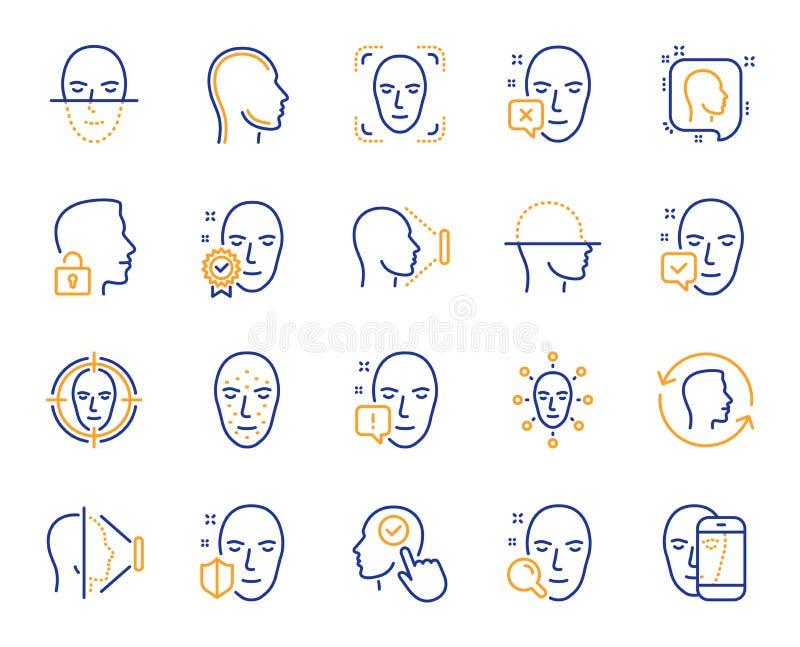 Линия значки распознавания лиц Комплект обнаружения и скеннирования биометрии сторон вектор бесплатная иллюстрация