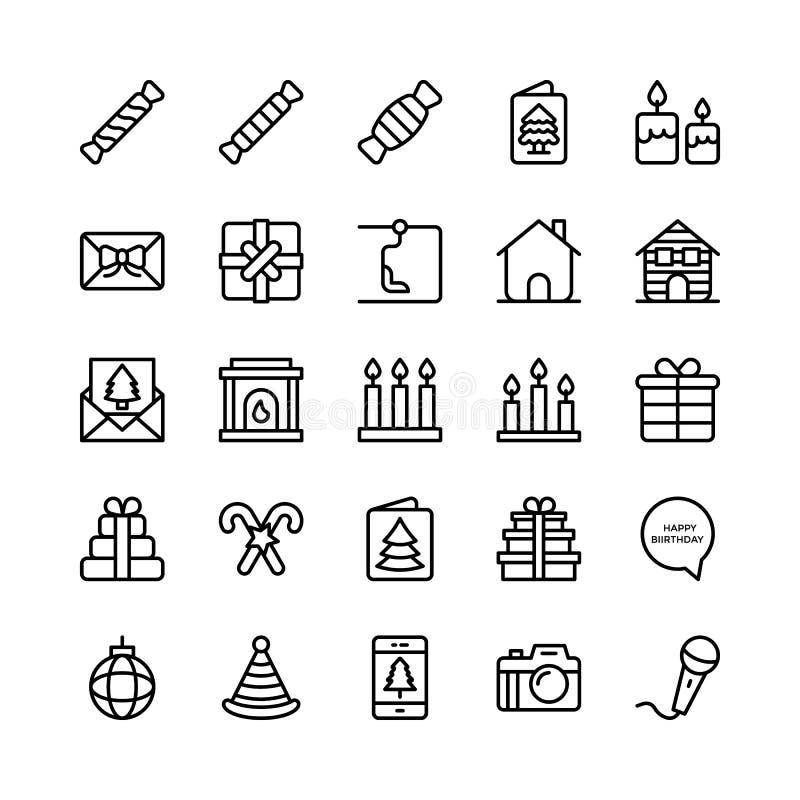 Линия значки 15 рождества, хеллоуина, партии и торжества вектора иллюстрация вектора