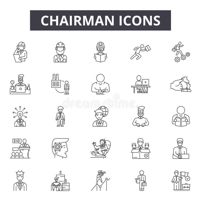 Линия значки руководителя, знаки, набор вектора, концепция иллюстраци бесплатная иллюстрация