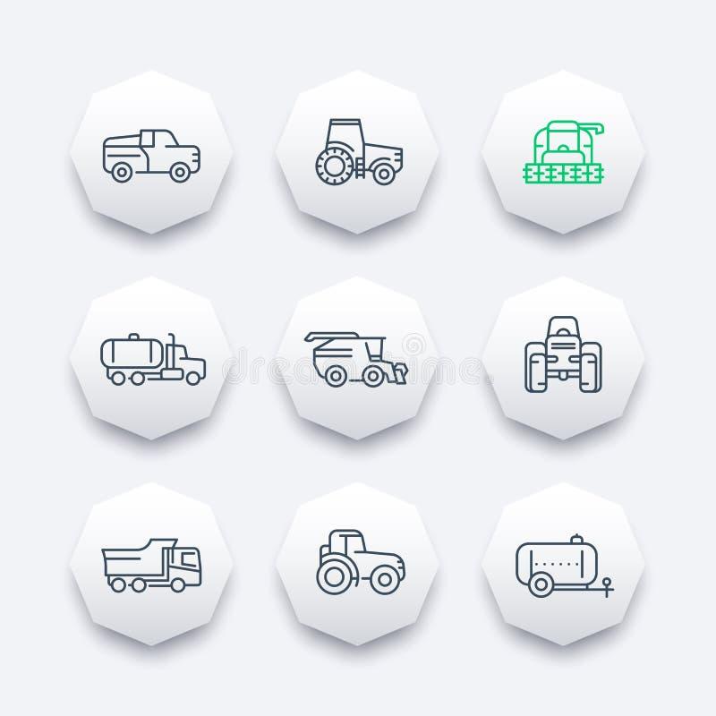 Линия значки сельскохозяйственной техники, жатка зернокомбайна, трактор, зерно жать зернокомбайн, тележку, аграрные корабли иллюстрация вектора