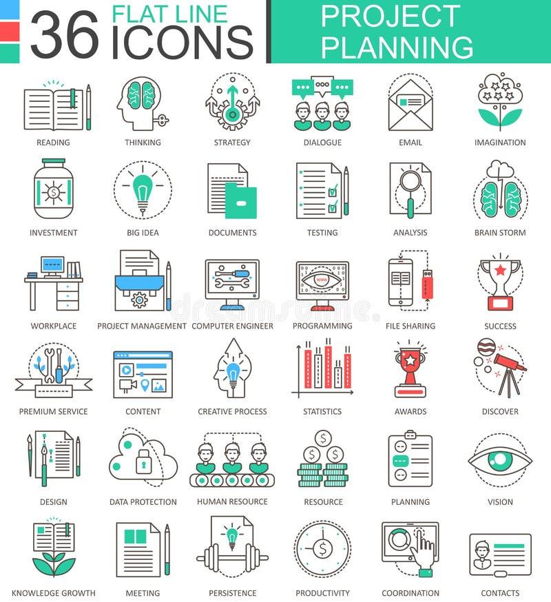 Линия значки современного цвета планирования проекта финансов дела вектора плоская плана для apps и веб-дизайна бесплатная иллюстрация