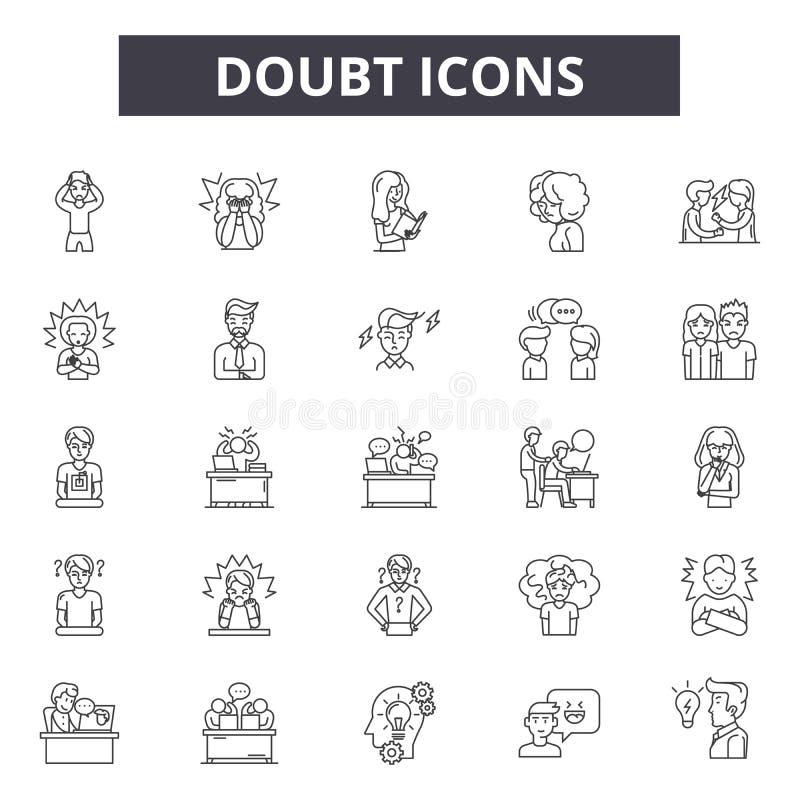 Линия значки сомнения, знаки, набор вектора, концепция иллюстрации пла иллюстрация штока