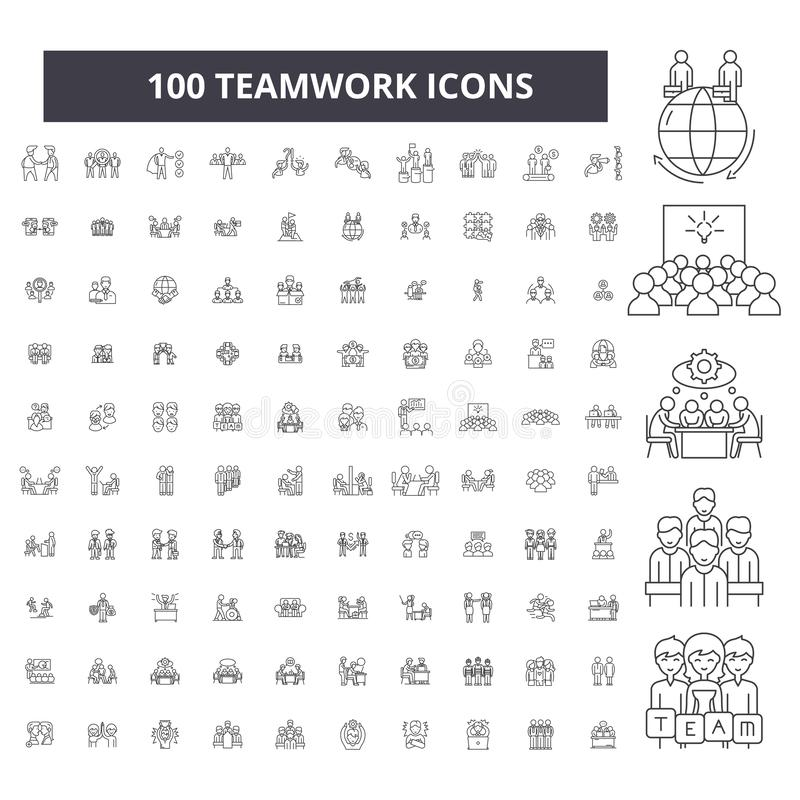 Линия значки сыгранности editable, набор 100 векторов, собрание Иллюстрации плана сыгранности черные, знаки, символы бесплатная иллюстрация