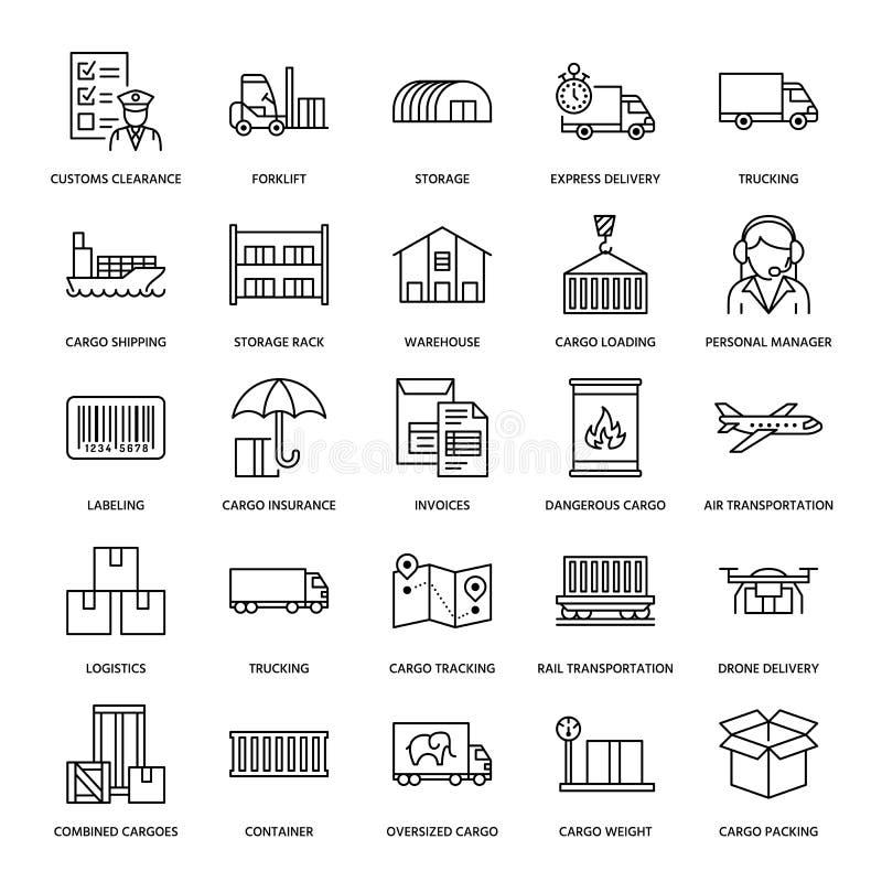 Линия значки транспорта груза плоская Перевозящ на грузовиках, срочная поставка, снабжение, доставка, зазор таможен, грузы бесплатная иллюстрация