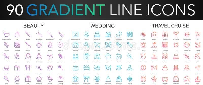 линия значки ультрамодного вектора градиента 120 тонкая установила красоты, свадьбы, круиза перемещения икона бесплатная иллюстрация