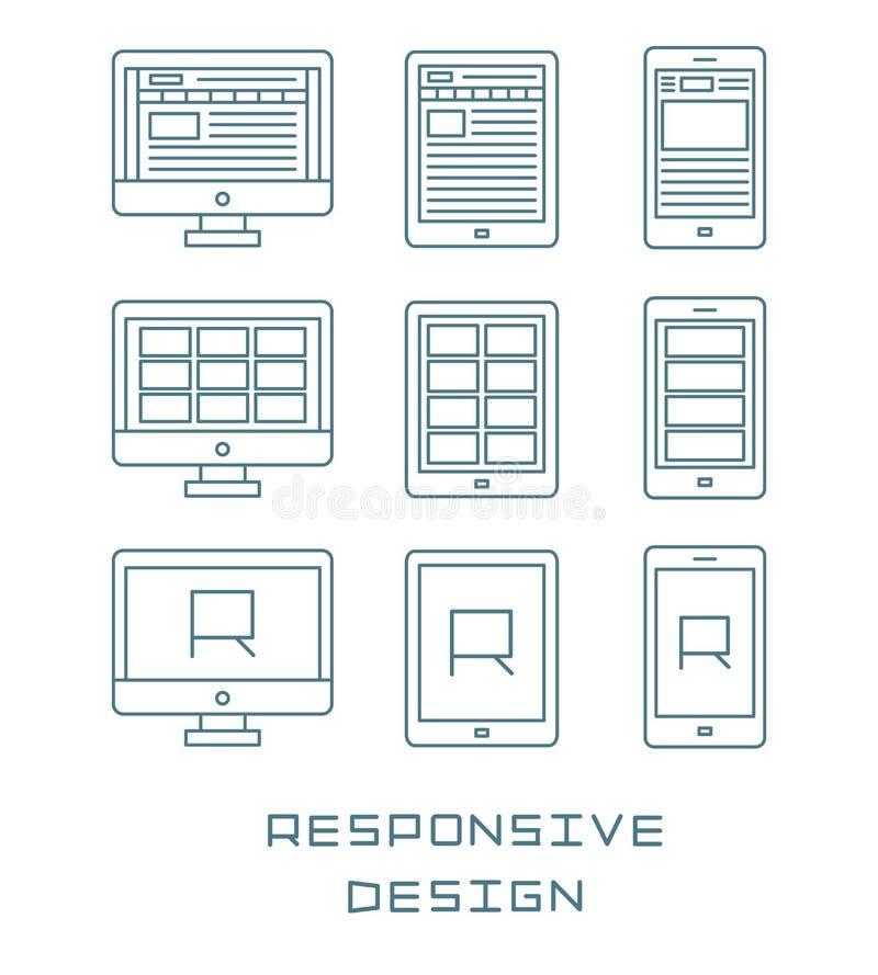 Линия значки установила обслуживание развития сети плоского дизайна отзывчивое, пользовательский интерфейс Веб-страницы вебсайта  иллюстрация штока