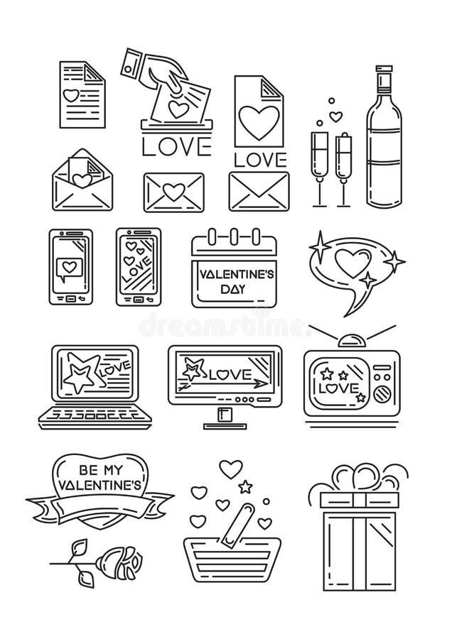Линия значки установленные на день валентинок иллюстрация вектора