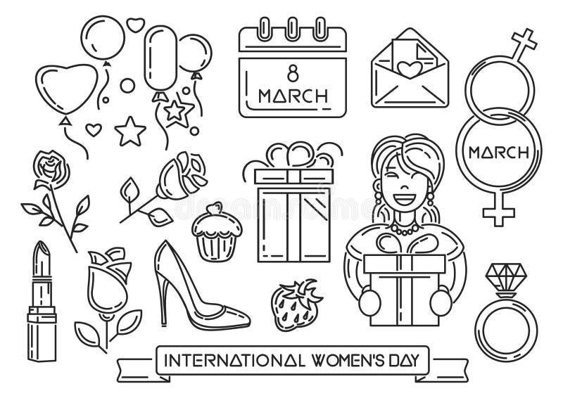 Линия значки установленные на Международный женский день бесплатная иллюстрация