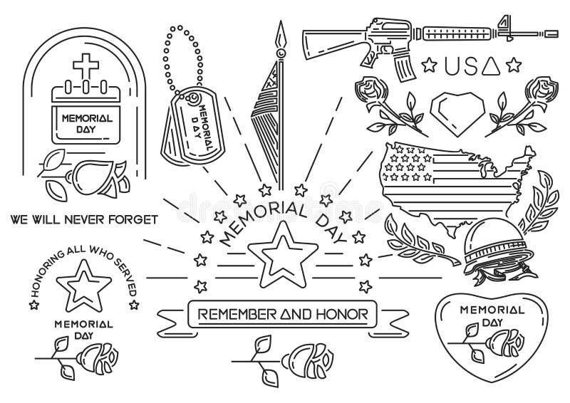Линия значки установленные на День памяти погибших в войнах в США иллюстрация вектора